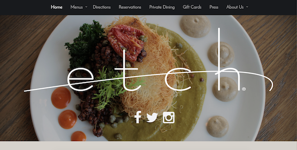 restaurant brand - etch website design