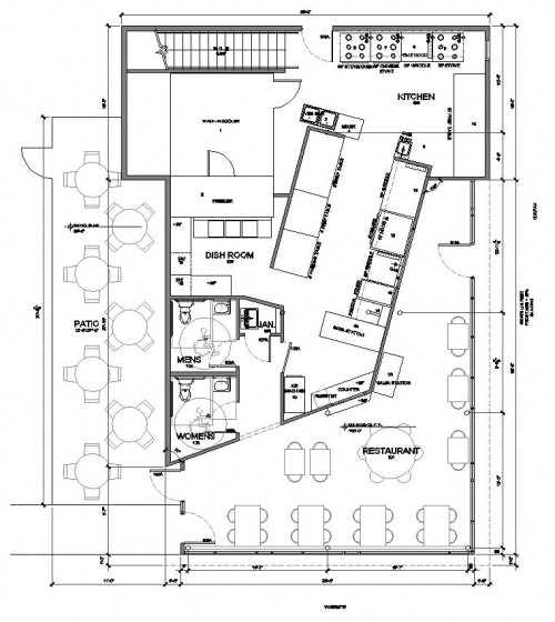 restaurant floor plan with patio