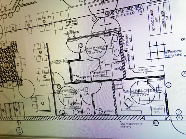 restaurant floor plan with bathrooms