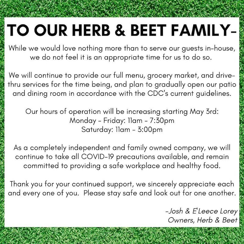 Herb & Beet message to customers
