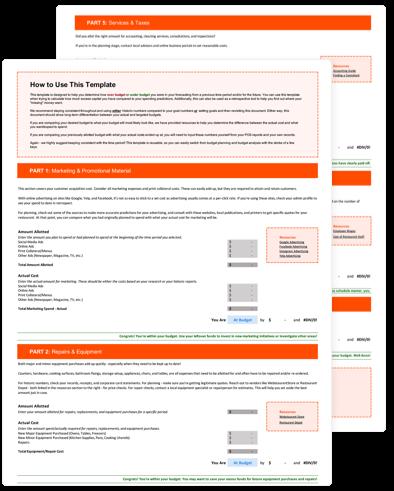 Restaurant Budget Sheet