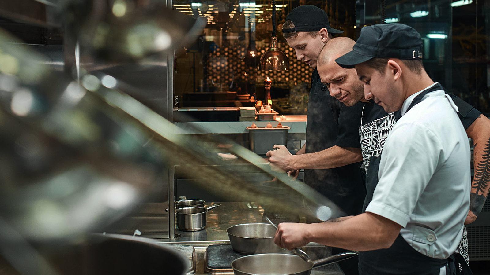 employees in a restaurant kitchen