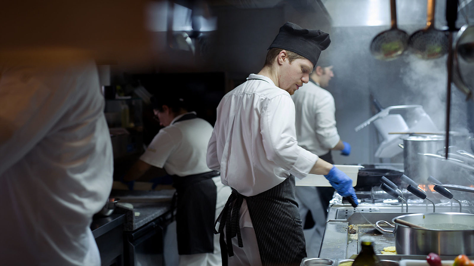 Line cook in the kitchen