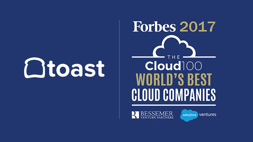 TOAST NAMED ONE OF THE WORLD'S TOP 100 CLOUD COMPANIES IN