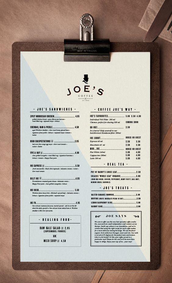 bar menu material
