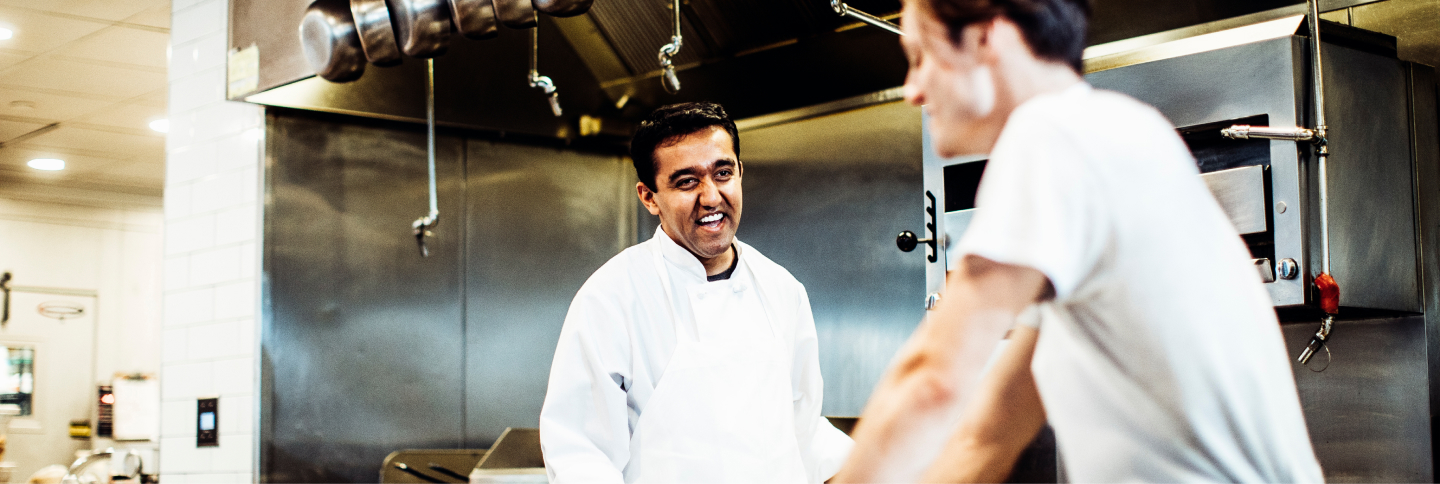 Chef laughing in the kitchen
