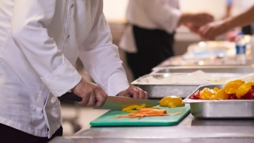 Chef In Hotel Kitchen  Slice  Vegetables With Knife And Prepare Food 797736 Edited