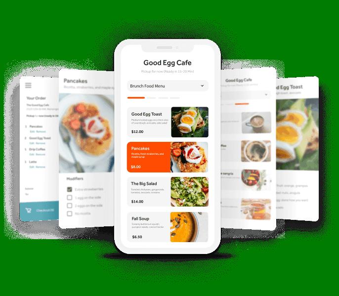 Online ordering app screens